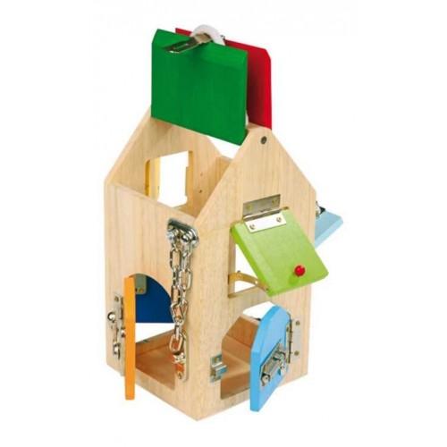 hračka s okienkami a zámkami